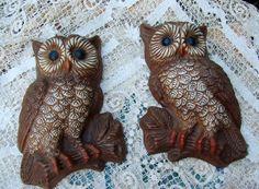 Woot Woot Vintage 1970s Era Pair of Owl Wall Hangings