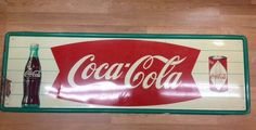 "Vt Rare Coca Cola Fishtail Sign W/ Bottle & Diamond Can/bottler Design 53"" x 17"" #CocaCola"