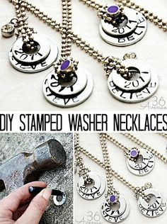 Turn plain washers into beautiful DIY stamped necklaces.