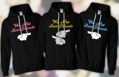 matching jackets for 3 best friends | THREE MATCHING WE ARE BEST FRIENDS HOODIE SWEATSHIRT SHIRT S-XL MICKEY ...
