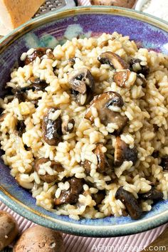 A delicious Mushroom Risottomade with arborio rice, crimini mushrooms and Parmesan. It's easier than you might think!