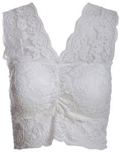 6a2657d632 White V Neck Sheer Lace Vest 7.99 Lace Vest