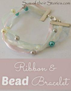 DIY Ribbon and Bead bracelet