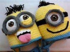 Crocheting: Minion crochet hats — I need one, and each of the grandbabies does too. Crocheting: Minion crochet hats — I need one, and each of the grandbabies does too. Bonnet Crochet, Crochet Beanie, Knitted Hats, Booties Crochet, Crochet Slippers, Love Crochet, Crochet For Kids, Knit Crochet, Crochet Crafts