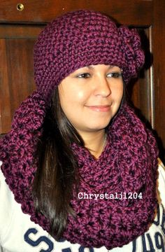 Purple infinity scarf and hat set.