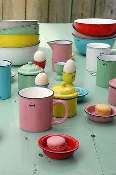 enamel-look ceramic tableware. Cabanaz. various colours, many models