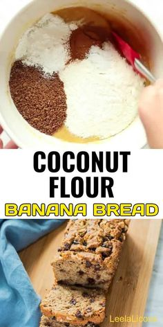This amazing Coconut Flour Banana Bread Recipe is gluten free and only sweetened with bananas (no added sugar). This banana loaf can also be made paleo and tree nut free.  #recipe #healthy #videos #easy #best #glutenfree #banana #coconutfour #bread #nosugar #chocolatechips #walnuts #breakfast #keto #lowcarb