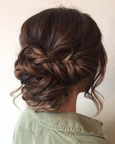 Beautiful braid updo wedding hairstyle for romantic brides - Bridal hairstyle. Get inspired by this low updo bridal hair gorgeous styles,wedding hairstyle
