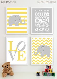 Change to things about a baby girl, but keep the yellow and grey; Baby Boy Nursery Art Chevron Elephant Nursery Prints, Kids Wall Art Baby Boys Room, Baby Nursery Decor Playroom Rules Quote Art - Four sur Etsy, € Baby Boy Nursery Decor, Elephant Nursery, Baby Boy Rooms, Baby Boy Nurseries, Baby Boys, Nursery Prints, Room Baby, Alphabet Nursery, Abc Alphabet