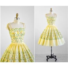 1950s dress 50s dress Yellow Cotton Cupcake Party Dress with Floral... ($268) ❤ liked on Polyvore featuring dresses, transparent dress, cotton day dresses, sheer dress, vintage cotton dress and cotton dress