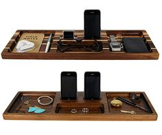 Personalized Wood Desk Organizer and Docking Station by WoodenLog, $49.50
