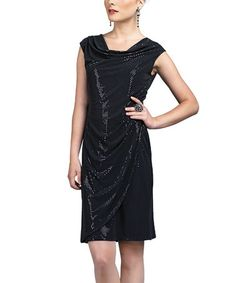 Take a look at this Black Drape Neck Dress - Women & Plus by Clara Sunwoo on #zulily today!