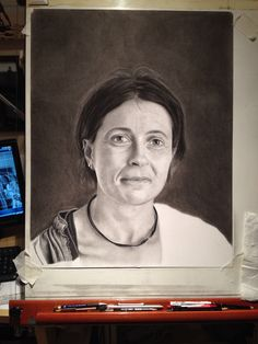 Latest wip of Stephanie, charcoal and graphite on Bristol board.
