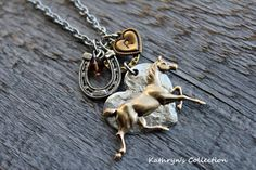 Horse Necklace, Horse Jewelry, Equestrian Jewelry, Horseshoe Necklace