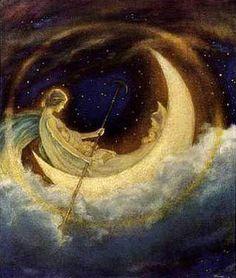 The Moon Boat To Dreamland - Illustration by Hugh Williams Moon Moon, Sun Moon Stars, Moon Art, Full Moon, Moon River, Illustration Art, Illustrations, Mystique, Moon Magic