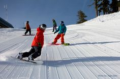 Newly groomed corduroy at Alpine Meadows, Lake Tahoe