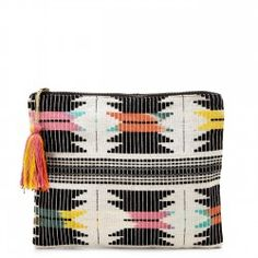 Sole Society Leni Embroidered Pouch With Tassel