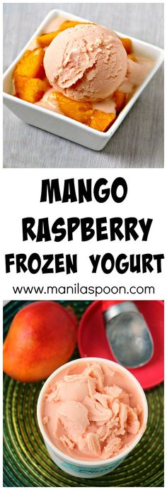 No need for an ice cream maker to make this easy, refreshing and scrumptious Mango Raspberry frozen yogurt! Sweet mangoes and tangy raspberries will keep you deliciously cool this summer!