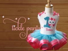 Owl Birthday Collection- Tiffany and bright pink- Made to match your party colors- Includes top, tutu and hairbow, EXCELLENT QUALITY
