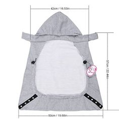 Zicac Cover for Baby Carrier Infant Hoodie Universal All Season Freestyle Carrier Cover (Gray)