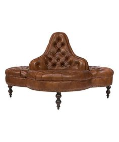Look what I found on #zulily! Brown Tufted Leather Lobby Sofa #zulilyfinds