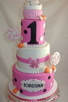 1st Birthday Cake Ideas for Girls tall pink black and white