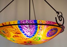 Painted Chandelier by artist Jenny Floravita Painted Chandelier, Chandelier For Sale, Glass Chandelier, Kiln Formed Glass, Ceiling Canopy, Ceiling Height, Light Art, Bulb, Hand Painted