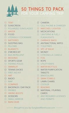 Camping trip list                                                                                                                                                      More