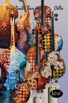 Hand Painted Cello Musical Instrument Colorful by JuleezGallery, $1550.00