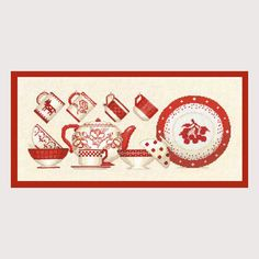Red tableware design for Embroidery Kit Counted cross stitch model by Bonheur des Dames