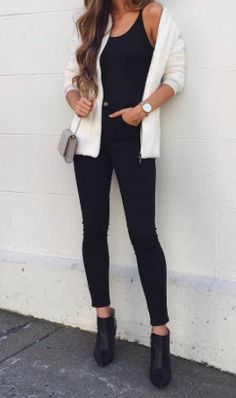 all black + white cardigan