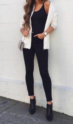 all black + white cardigan