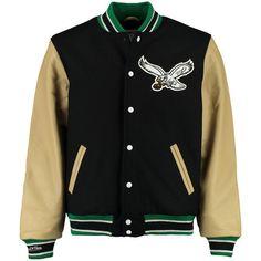 Men's Mitchell Ness Black Philadelphia Eagles NFL Wool/Leather Varsity... (1.860 BRL) ❤ liked on Polyvore featuring men's fashion, men's clothing, men's outerwear, men's jackets, mens varsity bomber jacket, mens wool jacket, mens varsity jacket and mens leather jackets
