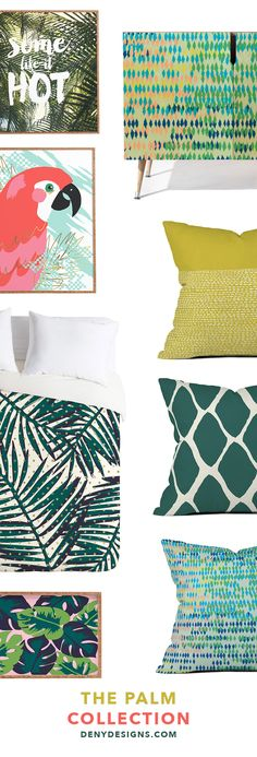 The tropical home decor style is all the rage right now and we can't complain. With this Palm Collection from DENYDesigns.com we bring an outdoor oasis to your bedroom. With a lush palm leaves duvet, throw pillows that pop, tropical wall art, a banana leaf decorative tray (very Beverly Hills Hotel), and a custom made colorful credenza, your bedroom is now a paradise. The time is now to have the bedroom you've always dreamed of.