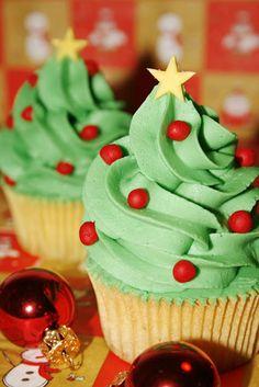 Tu medio cupcake: Cupcakes de Jengibre... ¡con forma de Árbol de Navidad!!!