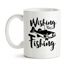 Coffee Mug, Wishing I Was Fishing Angler Catching Fish Fisherman Bass Go Fish Hobby Fishing, Gift Idea, Coffee Cup
