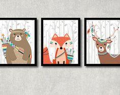 Tribal Animals Set - Printable Nursery Wall Decor, Woodland Creatures Art, Boy Baby Shower Poster, Play Room Wall Art, Bear, Fox, Deer