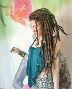Beautiful dreads by Thank you for dreadlocks ================================ Tag me on last your photo for feature🌚 Or… Dreadlock Rasta, Dreadlocks Girl, Dreadlock Hairstyles, Messy Hairstyles, Black Hairstyles, Wedding Hairstyles, White Dreads, Rasta Girl, Dread Accessories