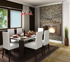 The modern fireplace is the center of attraction here complimented by the stone-wall texture. A tip to pick here is that you can match the crockery to the chandelier. The big window completes the picture of a holiday home look.
