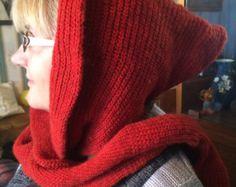 Set: wool bandana and cowl Wool neckwarmer Gray knit by KnitSew4U