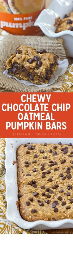 Chewy Chocolate Chip Oatmeal Pumpkin Bars fall dessert that is loaded with chocolate and pumpkin. YUM! (Butter Substitute Granola Bars)