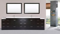 84 inch Redondo Espresso Double Modern Bathroom Vanity with Side Cabinet and Integrated Sinks and Mirrors - Plus, Brown Yellow Bathroom Rugs, Bathroom Rug Sets, Small Bathroom Vanities, Glass Bathroom, Bathroom Renovations, Home Remodeling, Granite Bathroom, Modern Vanity, Modern Bathroom Design