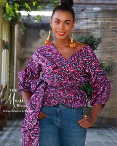 Top imprimé africain  Maui Wrap chemisier: lavande