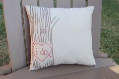 Darling woodgrain embroidery made into a pillow!