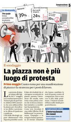 IL SONDAGGIO (d'archivio) — Pubblicato il 30 aprile 2013 — La piazza non è più luogo di protesta. Tratto dal nostro e-paper: http://epaper.cooperazione.ch