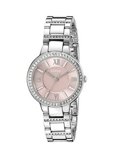 Fossil Women's ES3504 Virginia Crystal-Accented Stainless Steel Watch