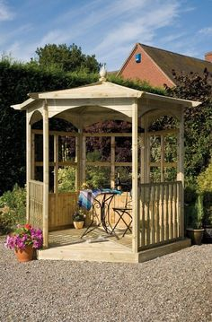 Buy Grange Fencing Budleigh Hexagonal Gazebo Dressed B Wooden Garden Gazebo, Garden Structures, Outdoor Structures, Tongue And Groove Cladding, Outdoor Shade, Shade Structure, Home Landscaping, Diy On A Budget