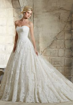 4186b9a333c Mori Lee ~ 2787 ~ Delicate Beading Onto the Patterned Alencon Lace on the Tulle  Ball Gown with Wide Hemline Border. The Suffolk Wedding Dress Exchange