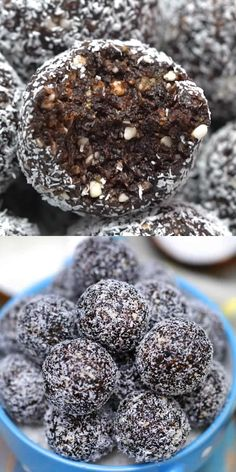 Chocolate Coconut Protein Balls are delicious healthy snacking that are made easily in a food processor! Chocolate Coconut Protein Balls are delicious healthy snacking that are made easily in a food processor! Healthy Snacks To Buy, High Protein Snacks, Healthy Sweets, Easy Snacks, Healthy Baking, Snacks Ideas, Best Healthy Foods, Keto Snacks, Lunch Ideas