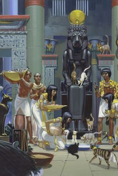 Feeding Cats in an Ancient Egyptian temple. Servants feeding cats in an ancient Egyptian temple, (gouache on paper). Illustration by Angus McBride (British, 1931-2007). Egypt Museum, World Religions, Cat Feeding, Egyptian, Mythology, Fair Grounds, Cats, Anime, Collection